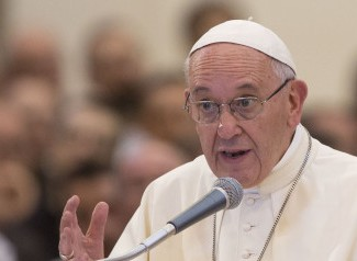 Pope Francis speaks during his visit to the Porziuncola