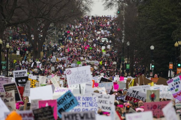Thousands of protesters gather to demonstrate against Donald TrumpÕs inauguration at the WomenÕs March in Washington.